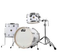 DW Pre-Owned Jazz Series 3pc Shell Pack in White Glass Finish Ply