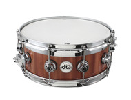 DW 6 X 14 Maple / Mahogany Top Edge Snare Drum In Natural Lacquer Finish