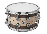 DW Super Solid Edge Snare 8x14 Maple With Walnut Edges