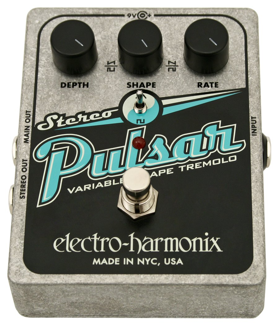 electro harmonix stereo pulsar tremolo guitar pedal rainbow guitars. Black Bedroom Furniture Sets. Home Design Ideas