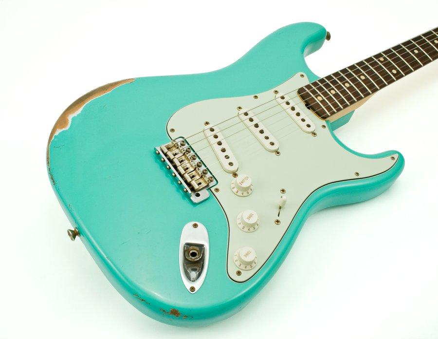 fender electric guitar limited edition 1962 stratocaster relic pro jr set seafoam green. Black Bedroom Furniture Sets. Home Design Ideas