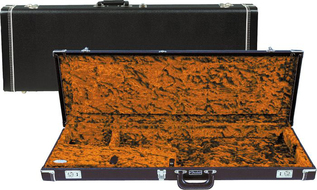 Fender Black Hardshell Strat Tele Case With Orange Plush Lining