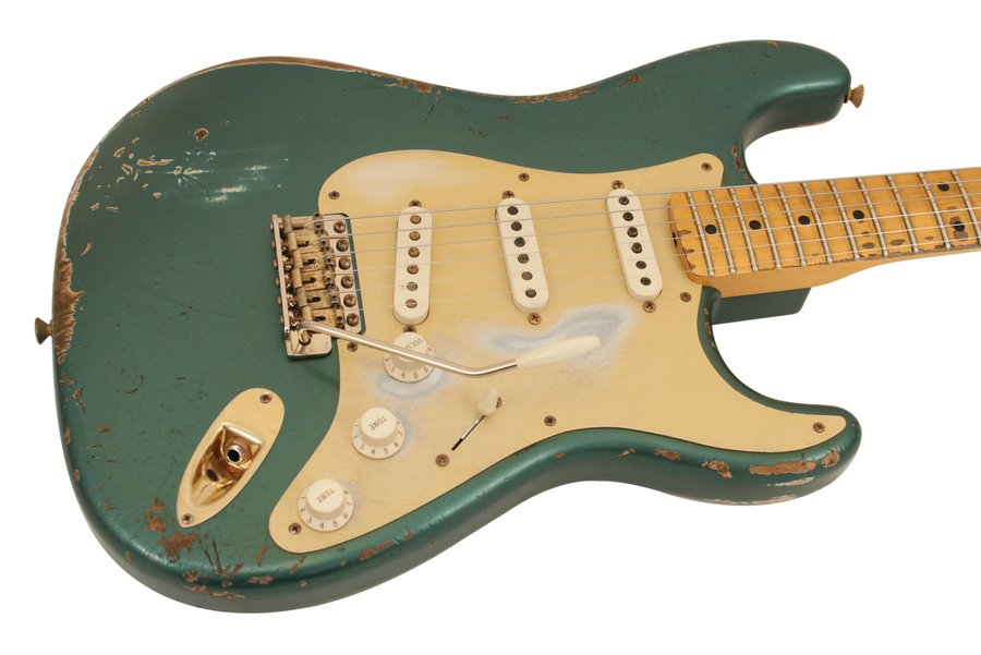 fender electric guitar custom shop 1957 stratocaster heavy relic sherwood green rainbow guitars. Black Bedroom Furniture Sets. Home Design Ideas