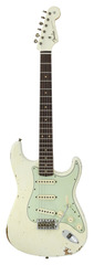 Fender Custom Shop 2017 1960 Stratocaster Relic Aged Olympic White Matching Headstock