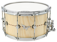Hendrix Drums 8x14 Solid Stave Ash Snare Drum With Inlay