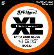 D'Addario ECG23 XL Chromes Flat Wound Extra Light Gauge Electric Guitar Strings