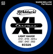 D'Addario ECG25 XL Chromes Flat Wound Light Gauge Electric Guitar Strings