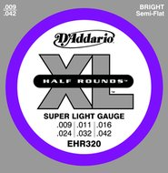 D'Addario EHR320 XL Half Rounds Super Light Gauge Electric Guitar Strings