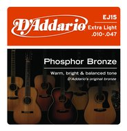D'Addario EJ15 Extra Light<BR>Phosphor Bronze<BR>Acoustic Guitar Strings
