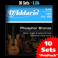 D'Addario EJ16 10-Pack Phosphor Bronze Light Acoustic Guitar Strings