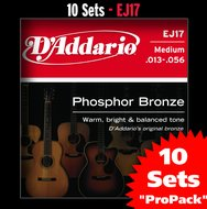 D'Addario EJ17 10-Pack Phosphor Bronze Medium Acoustic Guitar Strings