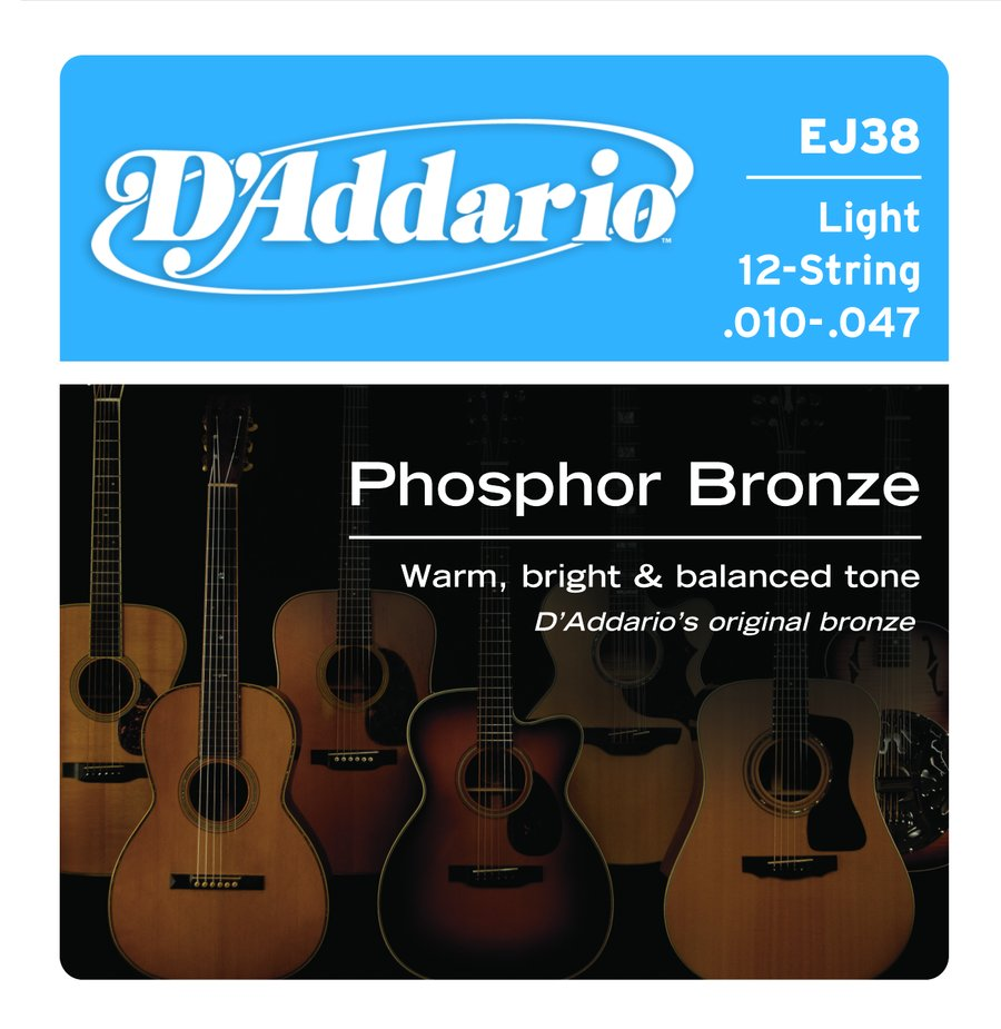 Addario EJ38 Light Phosphor Bronze 12 String Acoustic Guitar Strings