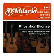 D'Addario EJ41 Extra Light Phosphor Bronze 12 String Acoustic Guitar Strings