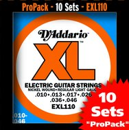 D'Addario EXL 110 10-Pack Nickel Wound Regular Light Electric Guitar Strings