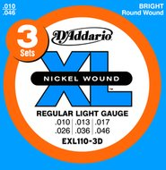 D'Addario EXL 110-3D 3-Sets Nickel Wound Regular Light Electric Guitar Strings