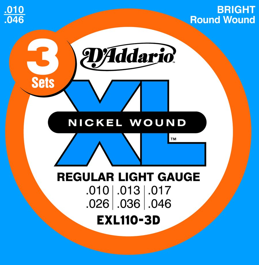 Exl 110 3d 3 sets nickel wound regular light electric guitar strings