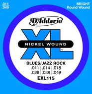 D'Addario EXL 115 Nickel Wound Blues/Jazz Rock Electric Guitar Strings .011-.049