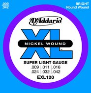 D'Addario EXL 120 Nickel Wound Super Light Gauge Electric Guitar Strings .009-.042