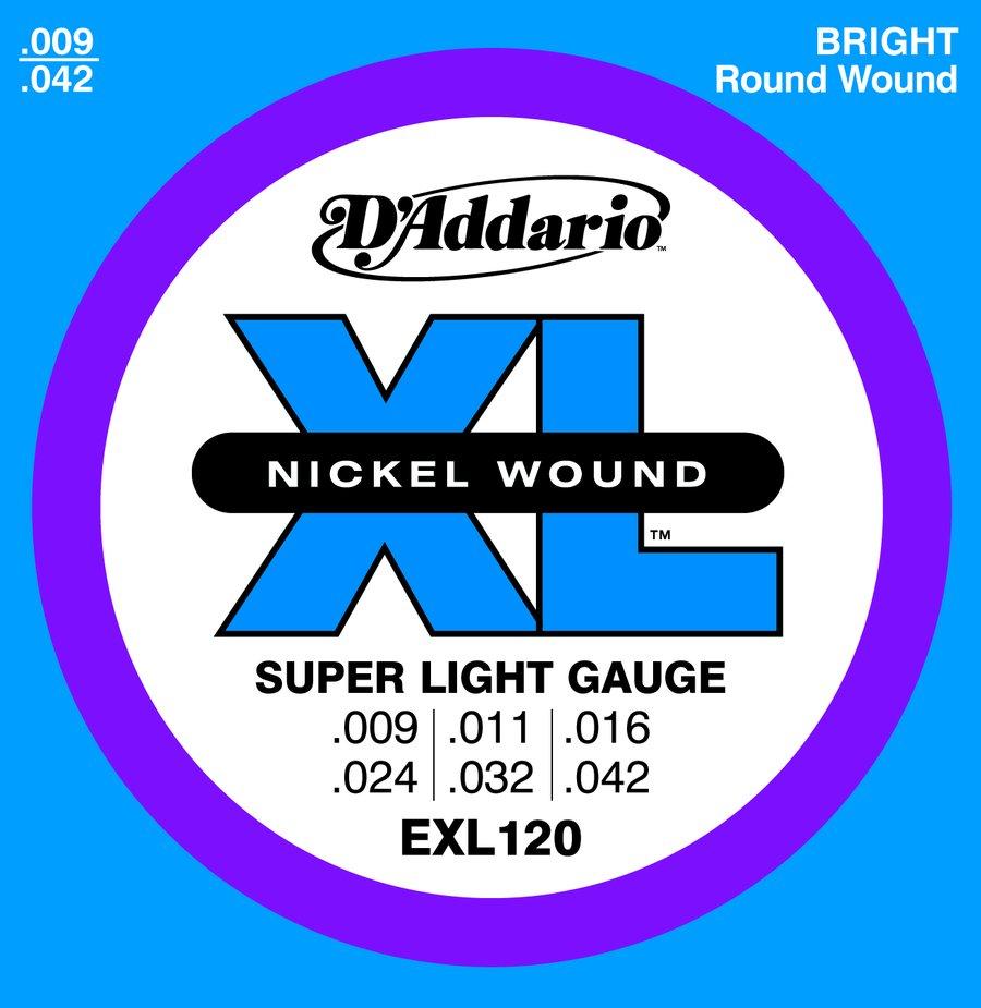 d 39 addario electric guitar strings exl 120 nickel wound super light gauge 009 042 rainbow. Black Bedroom Furniture Sets. Home Design Ideas