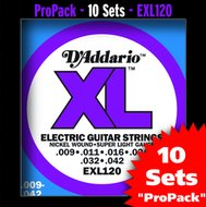 D'Addario EXL 120 10-Pack Nickel Wound Super Light Gauge Electric Guitar Strings