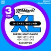 D'Addario EXL 120-3D 3-Sets Nickel Wound Super Light Gauge Electric Guitar Strings