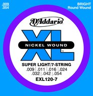 D'Addario Nickel Wound Super Light/7-String Electric Guitar Strings .009-.054