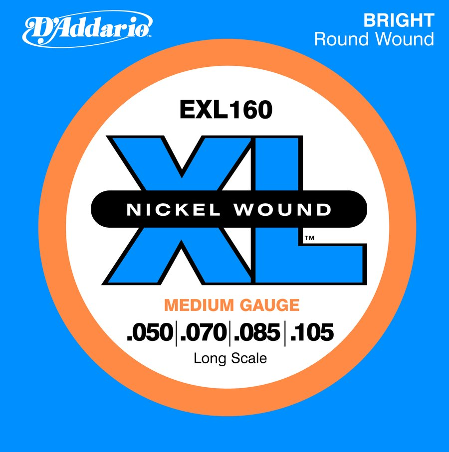 Addario Electric Bass Strings | EXL 160 Nickel Wound Long Scale ...