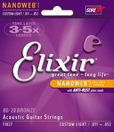 Elixir Nanoweb 80/20 Bronze Acoustic Guitar Strings Custom Light