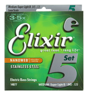 Elixir Nanoweb 5-string Bass set Medium