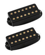 Bare Knuckle Aftermath 7 String Pickup Set Black Metal Gold Screws