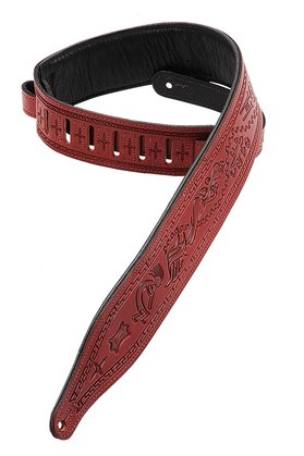 "Levy's Copper Kokopelli Tooled 2.5"" Leather Guitar Strap"