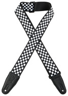"Levys 2"" Black and White Checker Sublimation Printed Guitar Strap"