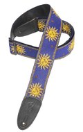 "Levy's Blue with Yellow Suns<BR>2.25"" Poly/Vinyl Guitar Strap"