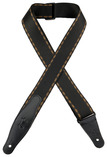 "Levy's 2"" Woven Brown Stitch Black Guitar Strap"