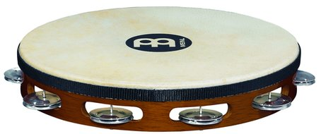 Meinl Headed Wood Tambourine, Aluminum Jingle
