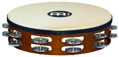 Meinl Headed Wood Tambourine, Aluminum Jingles