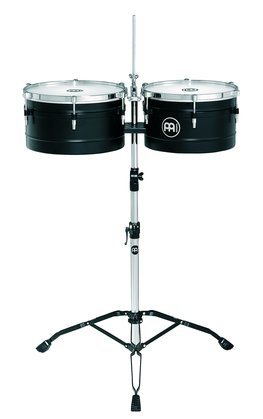 "Meinl 13"" & 14"" Floatune Series Timbale Set with Stand In Black"