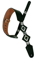 Pete Schmidt Pinnacle Silver Diamond Inlay Black Guitar Strap