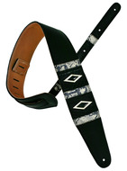 Pete Schmidt Pinnacle Black with Silver Inlay Guitar Strap