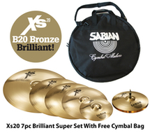 Sabian XS20 7pc Super Cymbal Set Brilliant Series