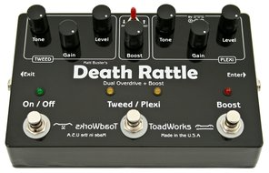 ToadWorks Death Rattle Dual Overdrive plus Boost Pedal